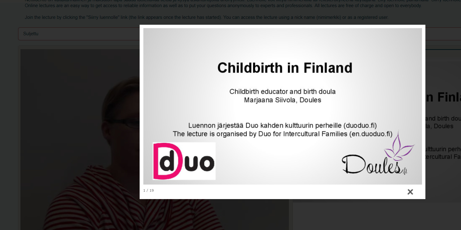 Online lecture about Childbirth in Finland